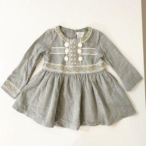 Tahari Baby Gray Embroidered Dress 24 MO